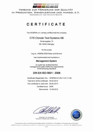 CTS ISO9001certifikat 2012 2013
